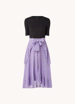 Maje Maje Midi jurk met print en knoopdetail