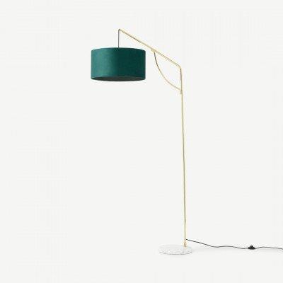 MADE.COM Carmella staande lamp, pauwblauw en messing