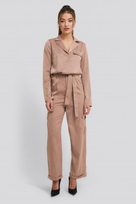 NA-KD Trend NA-KD Trend Satin Lounge Pants - Beige