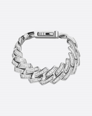 Drippy.Amsterdam NL BAGUETTE PRONG. - 18MM WHITE GOLD - 7 inch / 18 cm