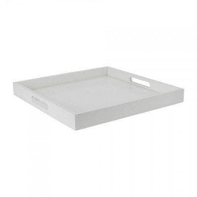 Dienblad/kaarsenplateau vierkant - 35x35 cm - wit