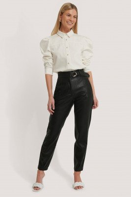 NA-KD Trend NA-KD Trend Buckle Belt Detailed Pu Pants - Black
