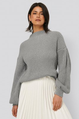 NA-KD Balloon Sleeve Knitted Sweater - Grey