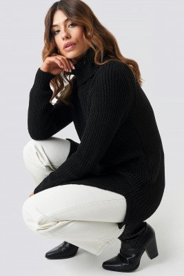 Trendyol Trendyol Long Knitted Sweater - Black