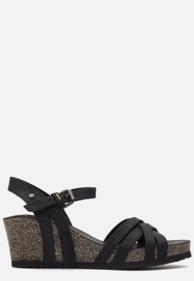 Panama Jack Panama Jack Vera Basics B1 sandalen met sleehak zwart