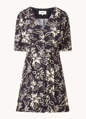 BA&SH ba&sh Soma mini jurk met V-hals en bloemenprint