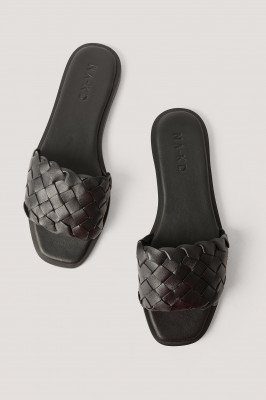 NA-KD Shoes Gevlochten Leren Instappers - Black