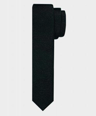 Michaelis Michaelis heren super smalle zijden stropdas zwart