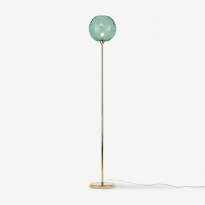 MADE.COM Ilaria staande lamp, messing and blauw glas