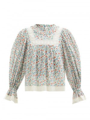 Matchesfashion Sea - Bubbie Balloon-sleeve Floral-print Cotton Blouse - Womens - Pink Multi