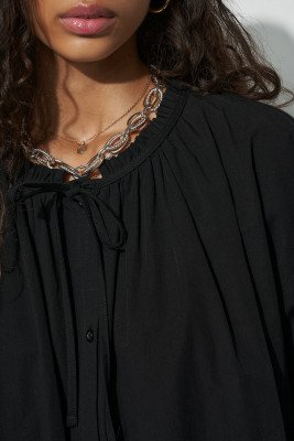 nu-in 100% Organic Gathered Tie Neck Smock Shirt