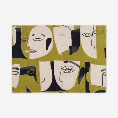 MADE.COM Khark handgetuft wollen vloerkleed, Large 160 x 230cm, chartreuse geel