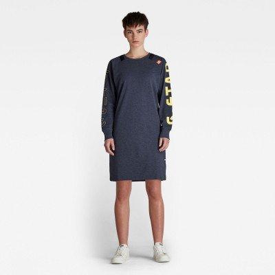 G-Star RAW Tweater Jurk Sleeve Print - Midden blauw - Dames
