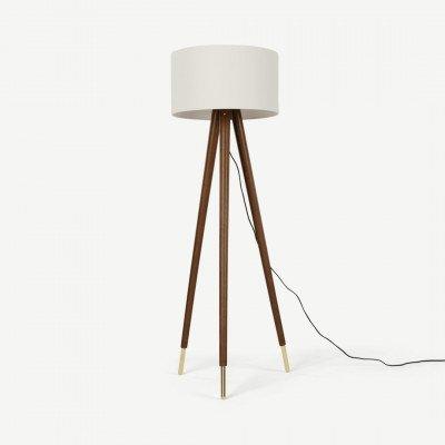MADE.COM Bree driepoot staande lamp, donker hout en wit