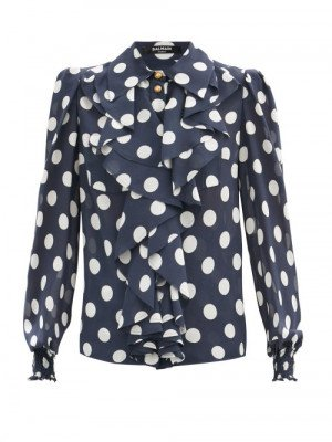 Matchesfashion Balmain - Ruffled Polka-dot Silk-georgette Blouse - Womens - Navy Multi