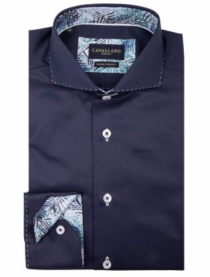 Cavallaro Napoli Cavallaro Napoli Heren Overhemd - Folero Overhemd - Donkerblauw