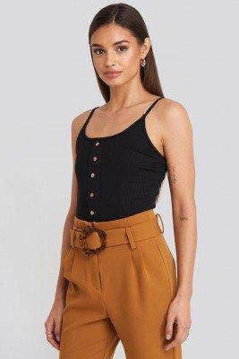 Trendyol Trendyol Button Detailed Knitted Crop Top - Black