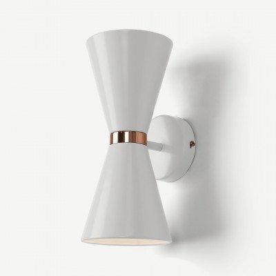 MADE.COM Ogilvy wandlamp, mat zachtgrijs en koper