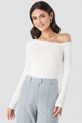 NA-KD Trend NA-KD Trend Ribbed One Shoulder Long Sleeve Top - White
