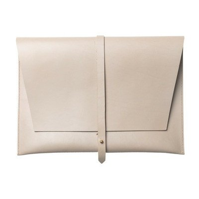 """Stolbjerg Copenhagen Computersleeve 13 """"Taupe colored leather with brass details"""
