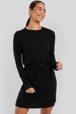 NA-KD NA-KD Drawstring Jersey Dress - Black