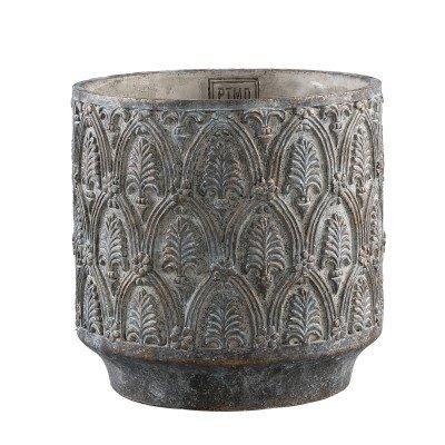 Firawonen.nl Ptmd jennis grijs cement pot antiek patroon rond