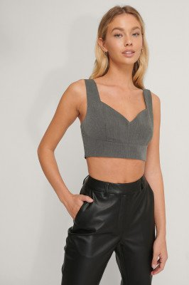 NA-KD Classic Cropped Bustier-Top - Grey