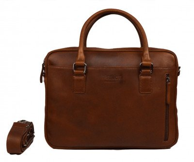 DSTRCT DSTRCT Premium 14 inch Laptoptas Cognac