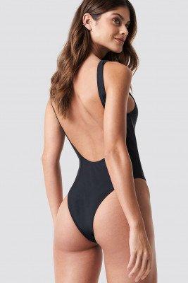 NA-KD Swimwear High Leg Swimsuit - Black