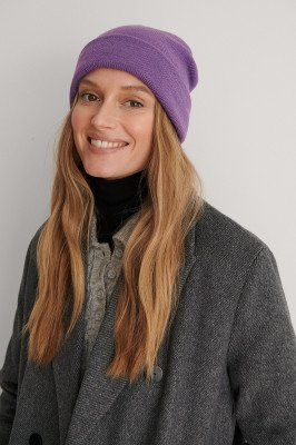 NA-KD Accessories NA-KD Accessories Gerecycleerd Basic Beanie - Purple