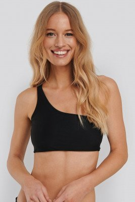 NA-KD Swimwear One-Shoulder Bikini Top - Black