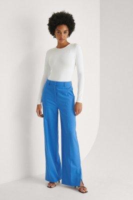 Khaoula x NA-KD Khaoula x NA-KD Split Detail Pantalon - Blue