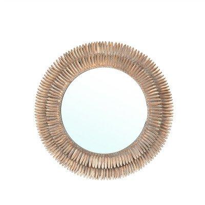 Firawonen.nl PTMD Meliza Copper metalen geribbelde spiegel rond