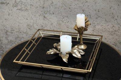 Firawonen.nl PTMD caylen goud metaal zwart glazen dienblad vier