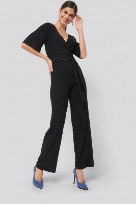 NA-KD Wrap Front Jersey Jumpsuit - Black
