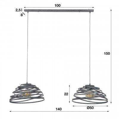 LifestyleFurn Hanglamp 'Twister' 2-lamps Ø50cm