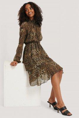 NA-KD Boho NA-KD Boho High Frill Neck Dress - Brown
