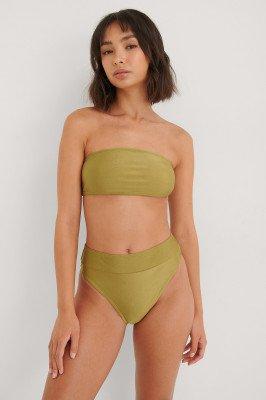 NA-KD Swimwear NA-KD Swimwear Glanzend Bikinibroekje Met Hoge Taille - Green