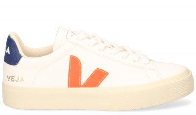 VEJA VEJA Campo Chromefree Leather Wit/Oranje/Blauw Damessneakers