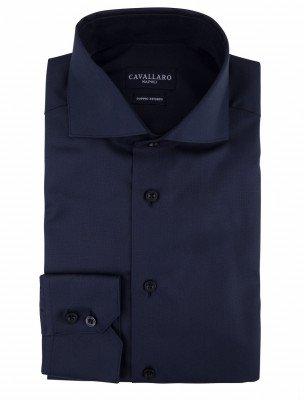 Cavallaro Napoli Cavallaro Napoli Heren Overhemd - NOS Oxford Navy Overhemd - Blauw