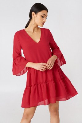NA-KD Boho NA-KD Boho V-Neck Ruffle Mini Dress - Red