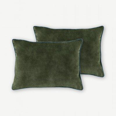 MADE.COM Castele set van 2 fluwelen kussens, 35x50cm, donkergroen