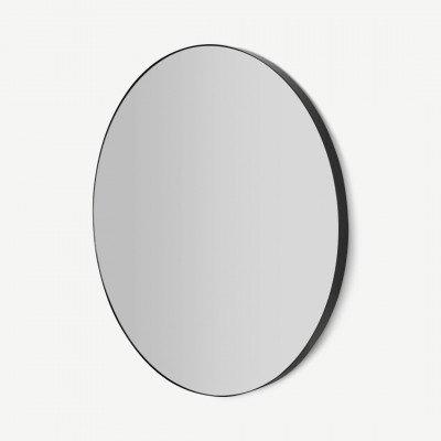 MADE.COM Arles grote ronde spiegel, 85 cm, matzwart
