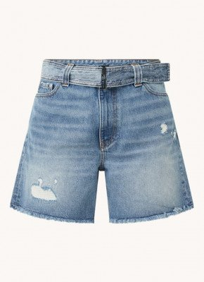 Ganni Ganni High waist wide fit korte broek van denim met ripped details