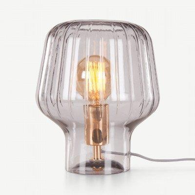 MADE.COM Ewer tafellamp, rookglas en gepolijst koper
