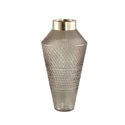 Ptmd siv bruin glazen vaas met patroon rond l