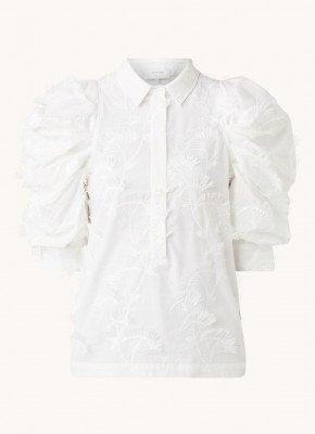 MUNTHE MUNTHE Temple blouse met pofmouw en borduring