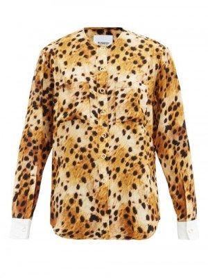 Matchesfashion Burberry - Contrast-cuff Leopard-print Silk Blouse - Womens - Animal