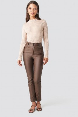 NA-KD Trend NA-KD Trend Coated Cotton Pants - Brown