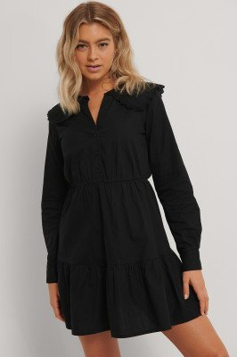 NA-KD Trend Shirtjurk Met Borduurselkraag - Black